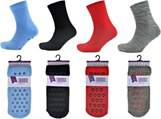 4 Pares Mujer o Hombre Térmico Antideslizante Agarre Pantuflas Calcetines - Surtido de Colores - Mezcla (SK130), 4-7