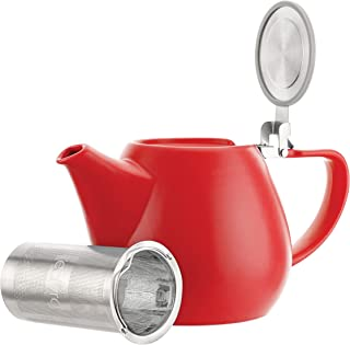 Tealyra - Jove Porcelain Large Teapot Red - 34.0-ounce (3-4 cups) - Japanese Made - Stainless Steel Lid and Extra-Fine Infuser To Brew Loose Leaf Tea - 1000ml