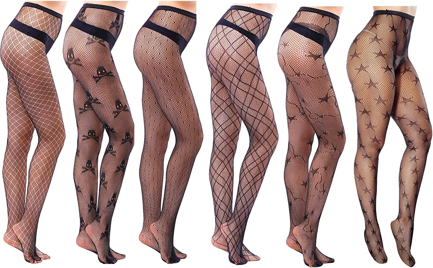 Jusback Lace Pantyhose Floral Stockings 6 Pairs Black Fishnet Tight for Women