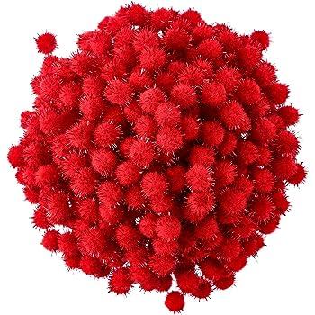 Hestya 500 Pezzi 0.5 Pollici Pompon di Natale Glitter Pom PON per la Fabricazione Artigianale e Hobby Forniture Rosso