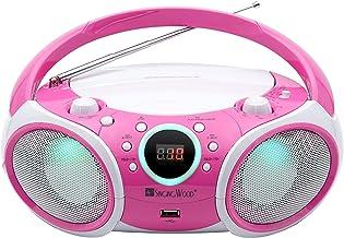 SINGING WOOD, CD Player Boombox CD/CD-R/CD-RW, Portable w/Bluetooth, USB, AM/FM Radio,..