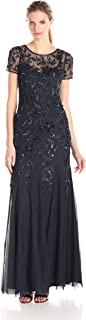 Women's Floral Beaded Godet Gown