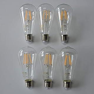 SD LUX E27 LED Bulbs Vintage Filament Light Bulbs ST64 ES LED Light No Flicker Screw Edison LED Bulbs -6W (60W Equivalent)...