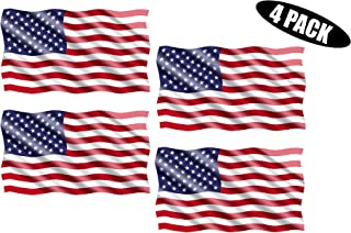Rogue River Tactical American USA Flag Sticker Patriotic Waving United States Auto Car Decal Window Bumper US Military (3x5 Inch 4 Pack)
