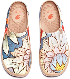 Sponsored Ad - UIN Women's Travel Slipper Lightweight Home Slip Ons Walking Casual Art Painted Travel Holiday Shoes Blossom