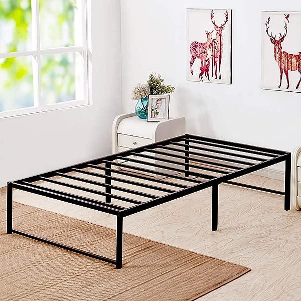 VECELO 14 Inch Platform Bed Frame Mattress Foundation No No Box Spring Needed Steel Slat Support Twin Size Black