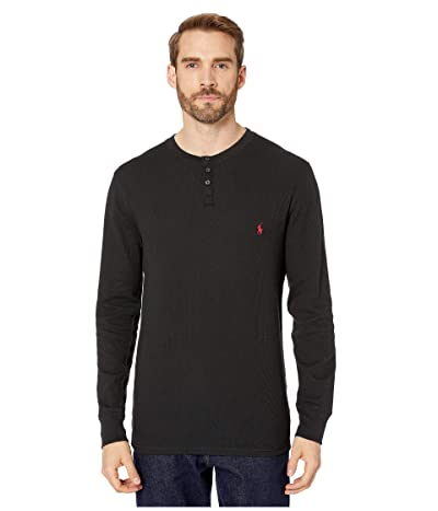 Polo Ralph Lauren Waffle Long Sleeve Henley (Polo Black/RL2000 Red Pony Print) Men