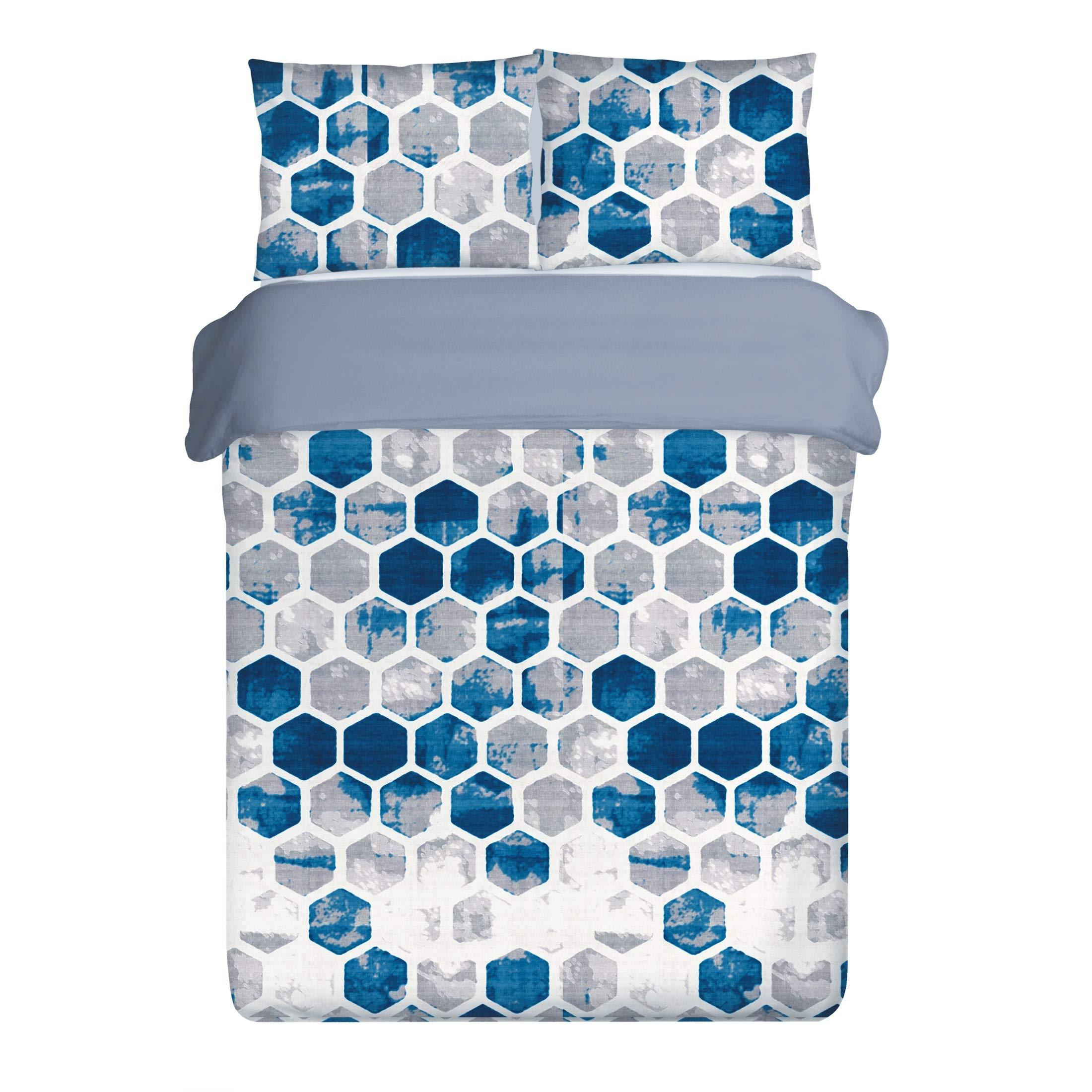 Eurofirany - Ropa de Cama con diseño de Trapecio, Color Blanco, Azul y Gris, Funda nórdica de
