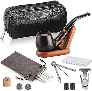 joyoldelf Ébano Pipas para Tabaco Profundizado & A Prueba de Viento De Madera Pipas para Tabaco con Cuero Bolsa de Tabaco, Soporte para Pipas y Accesorios Pipas