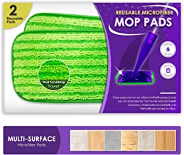 Reusable Mop Pads Fit Swiffer WetJet - Washable Microfiber Mop Pad Refills by Turbo - 12 Inch Floor Cleaning Pads Fit Both Dry Mops and Wet Jet Mop Heads -2 Pack