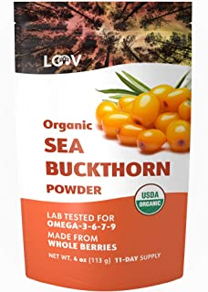 Organic Sea Buckthorn Powder, Made from 100% Whole Berries, Freeze Dried, 4 oz, Raw, Grown in Nordic Climate, 11-Day Supply, Omega 7 rich, no Additives, USDA/EU Certified Organic