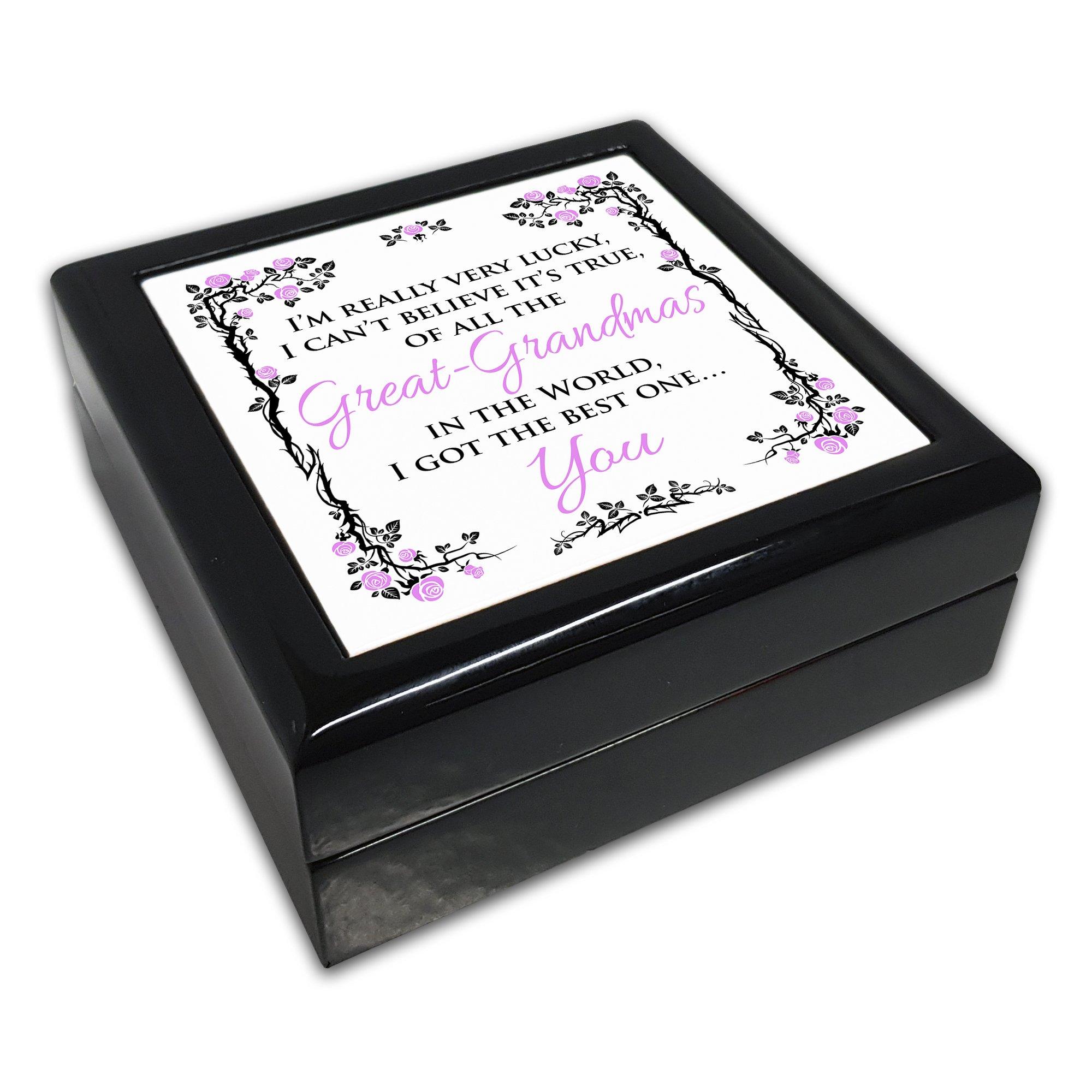 De todos los great-grandmas en el mundo tengo el mejor uno... You negro cuadrado caja de joyería: Amazon.es: Jardín