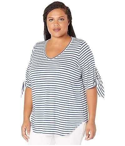 Karen Kane Plus Plus Size Tie Sleeve Shirttail Tee (Stripe) Women