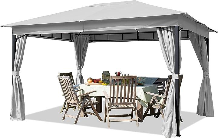 Gazebo giardino 3x4 m con telo impermeabile da ca. 180g/m² - 4 pareti laterali grigio chiaro 8758021XQ124773268MINI4