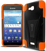 Kyocera Hydro Air Case, Kyocera Hydro Wave Case, CoverON [Dual Defense] Hybrid Kickstand Hard Cover Protective Armor Phone Case for Kyocera Hydro Air/Hydro Wave - Neon Orange/Black