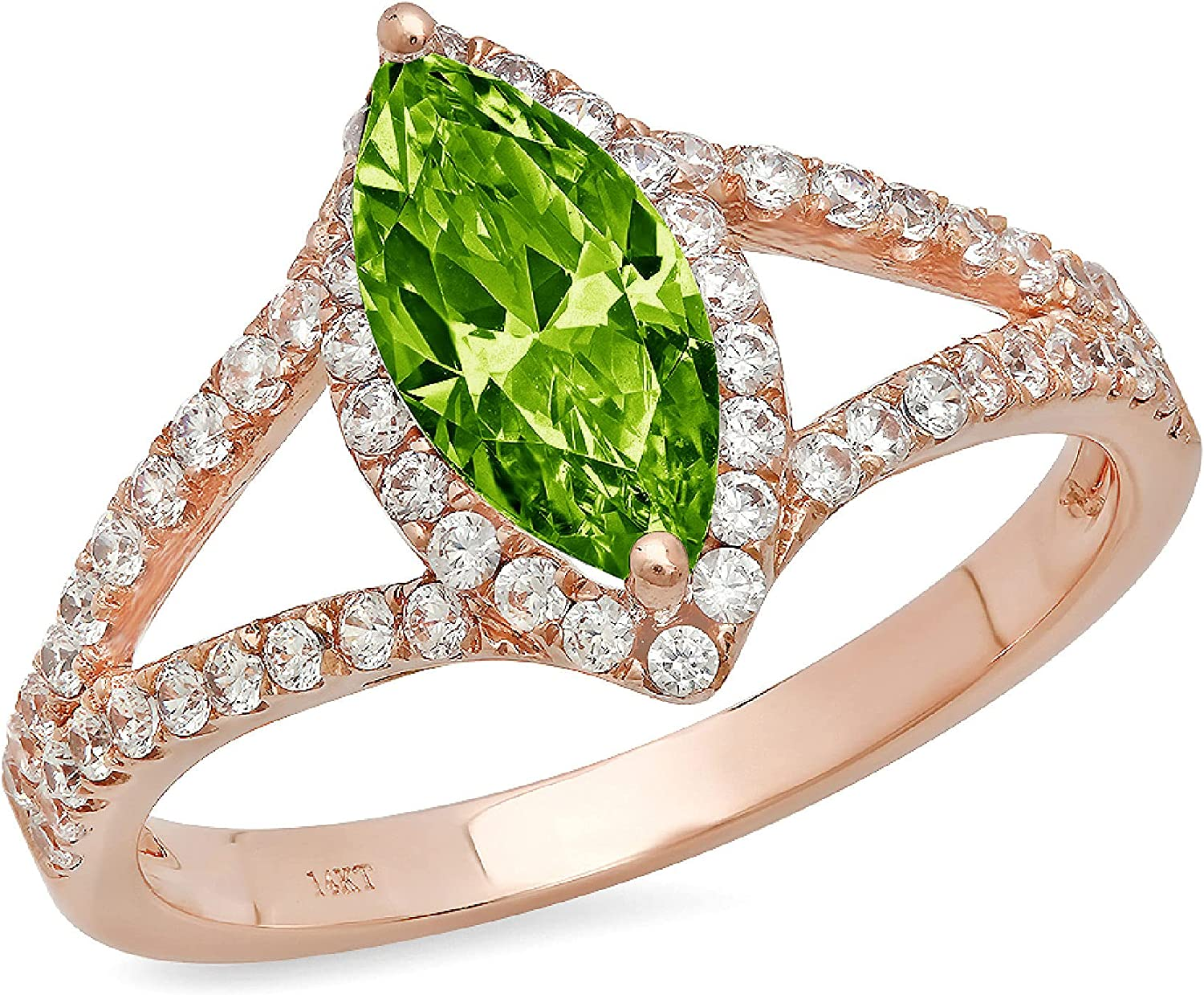 1.14ct Marquise Cut Solitaire with Accent split shank Halo Genuine Natural Vivid Green Peridot Gemstone Ideal VVS1 Engagement Promise Statement Anniversary Bridal Wedding ring 14k Pink Rose Gold