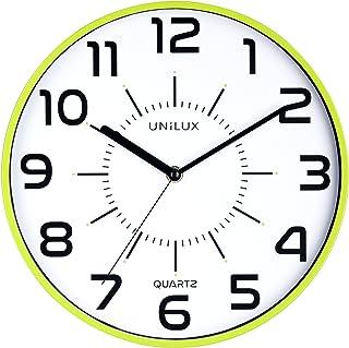 Unilux Outdoor Pendule de bureau Syst/ème Quartz Radio-pilot/ée Silencieuse pour Ext/érieur//Interieur Etanche Lisible jusqu/à 100 m /Ø 35,5 cm Gris m/étal