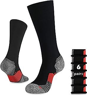 WANDER 6 Pairs Men's Athletic Run Cushion Over-the-Calf Tube Socks