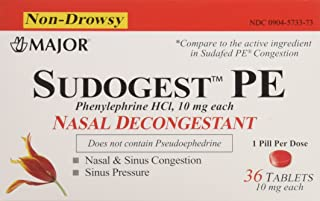 Sudogest PE Generic for Sudafed PE Nasal Decongestant Phenylephrine HCl 10mg Tablets t 6 Packs of 36-count Total 216 Tablet