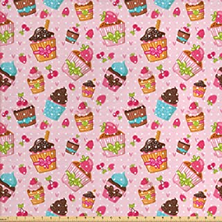 Ambesonne Pink Fabric by The Yard, Kitchen Cupcakes Muffins Strawberries and Cherries Food Eating Sweets Print, Decorative Fabric for Upholstery and Home Accents, 3 Yards, Pink Brown
