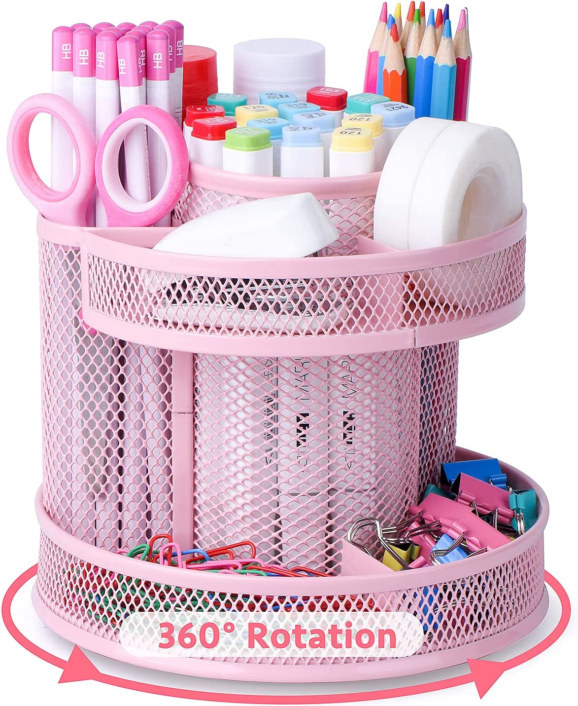 Cute Rotate Desk Organizer, Kawaii Mesh Desk Accessories Pen Holder Stationery Carousel, Spinning Pencil Storage Caddy Tray for School, Home, Office Supplies - Pink