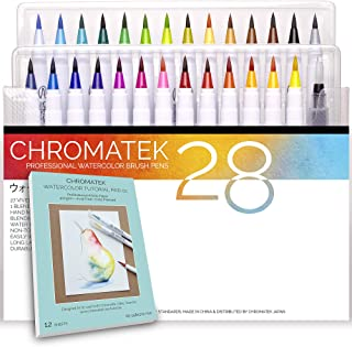 28 Watercolor Brush Pens, 15 Page Tutorial Pad and Online Video Series by Chromatek. Real Brush Tip. Vivid. Blendable. Long Lasting. Professional Artist Quality. 27 Colors 1 Blending Brush.