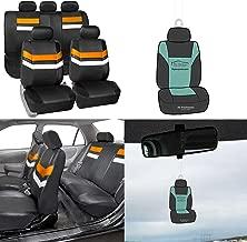 FH Group PU006115 Varsity Spirit PU Leather Seat Covers, Airbag & Split Ready, Orange/Black Color