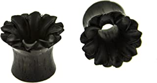 Organic Hand Carved Ear Gauges - Black Areng Wood Lotus Design Tunnel Plugs for Pierced Ears, 00 Gauge (10 mm), Sold as a Pair
