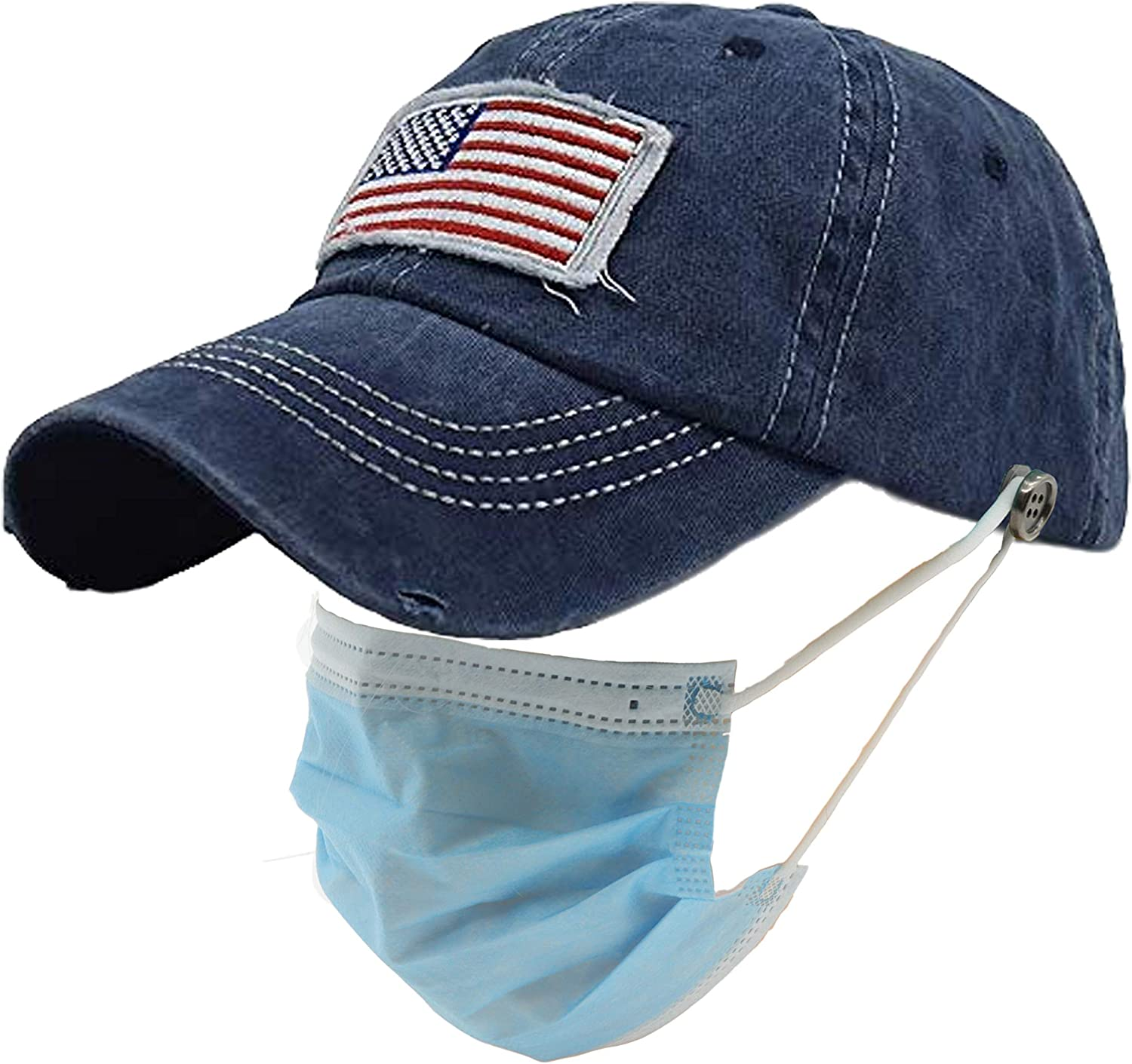 American Flag Star Patch Embroidered Ponytail Hat for Women Washed Distressed Baseball Cap with Button for Mask