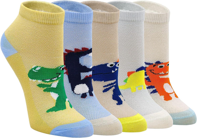 Boys Sock Cotton Animal Pattern Toddler Kids Socks Ankle Running Sock 5 Pairs