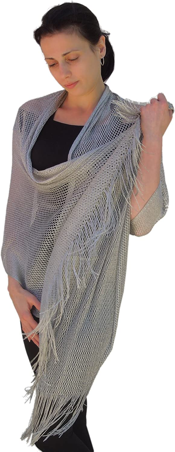 Sheer-Delights Special price for a limited time Lurex Fringed Excellent Evening Wrap Shawl for Wedding Prom