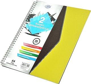 FIS Spiral Hard Cover University Books, 80 Sheets, 2 Subject, A4 Size - FSUB2SA41401