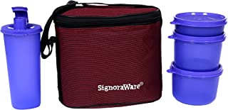 Signoraware Combo Medium Executive Lunch with Bag Violet