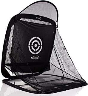 Spornia Spg-7 Golf Practice Net - Automatic Ball Return System w/Target Sheet, Two Side Barrier