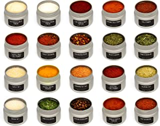 Foodly 20-tin Set of Spices, Herbs, Seasonings, Chili Powders, and Salts | Gourmet Flavors in Premium Metal Tins (Hot w/ Walnut Wood Spice Rack)