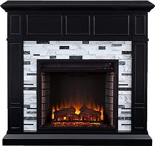 Southern Enterprises Drovling Fireplace, Black/White/Gray