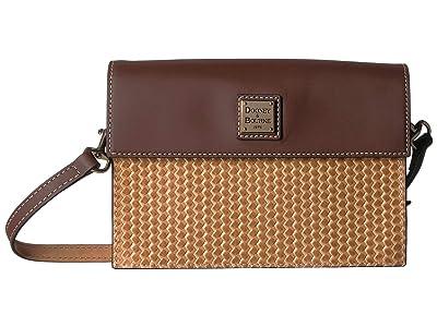 Dooney & Bourke Beacon Woven East/West Flap Crossbody (Sand/Chestnut Trim) Cross Body Handbags