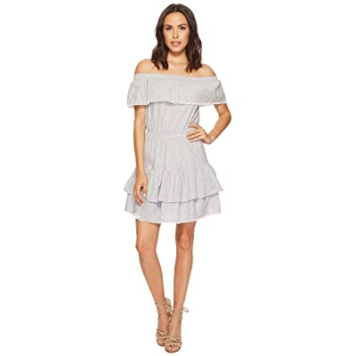 ROMEO & JULIET COUTURE Off the Shoulder Striped and Ruffle Dress (Grey/White) Women