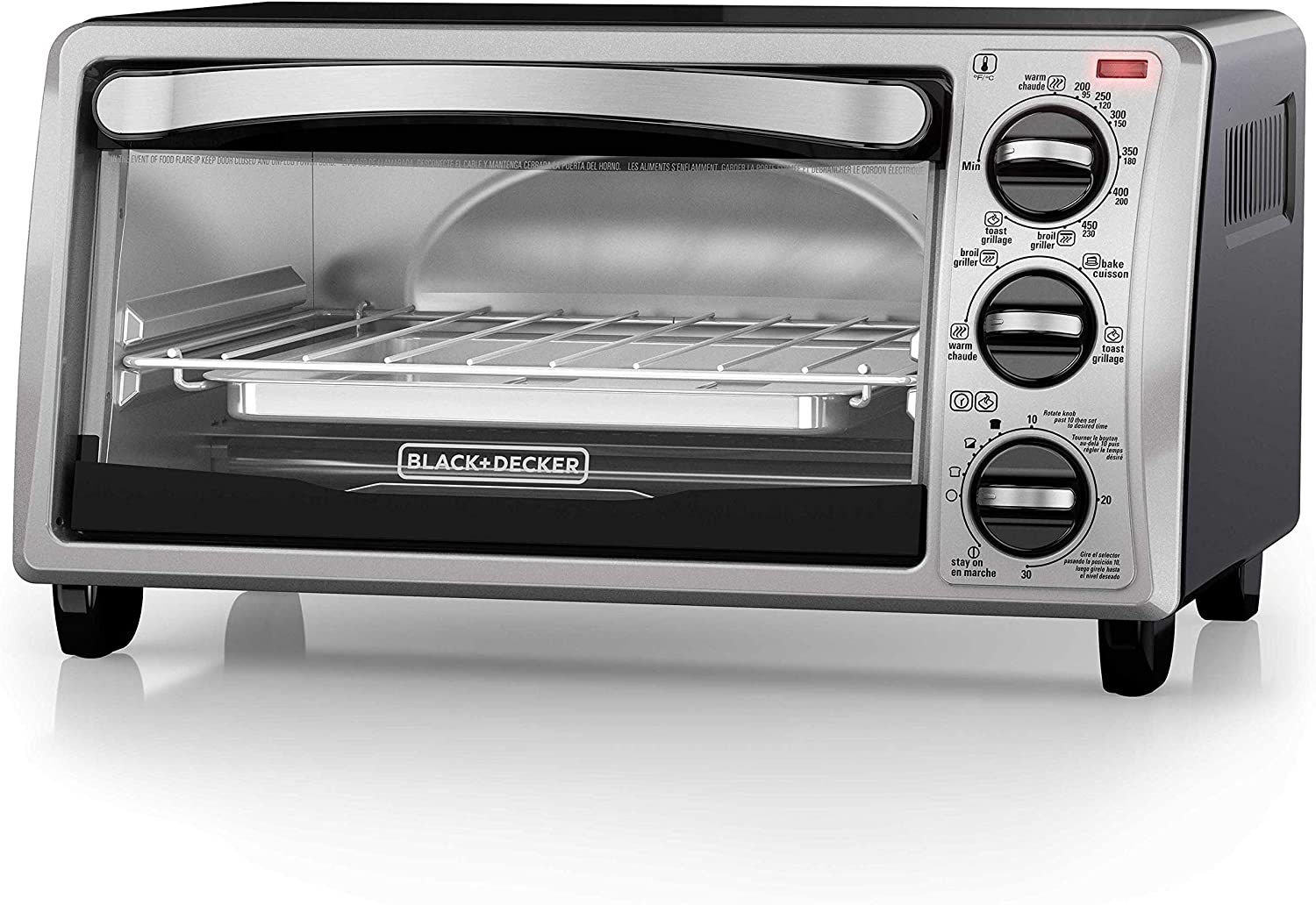 Black and Decker TO1313SBD 4-Slice Toaster Oven, Black