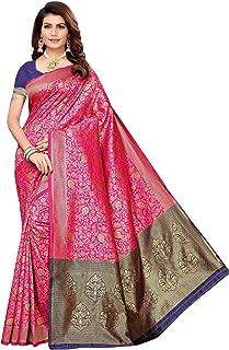 Indian Women's Banarasi Jacquard Rich Pallu Saree Wedding Traditional Designer Saree Bridal Silk Sari with Unstitched Blouse