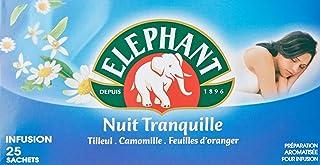 Elephant Infusion Nuit Tranquille, Tilleul Camomille et Fleur d'Oranger, Favorise l'endormissement et le bien-être, 25 Sac...