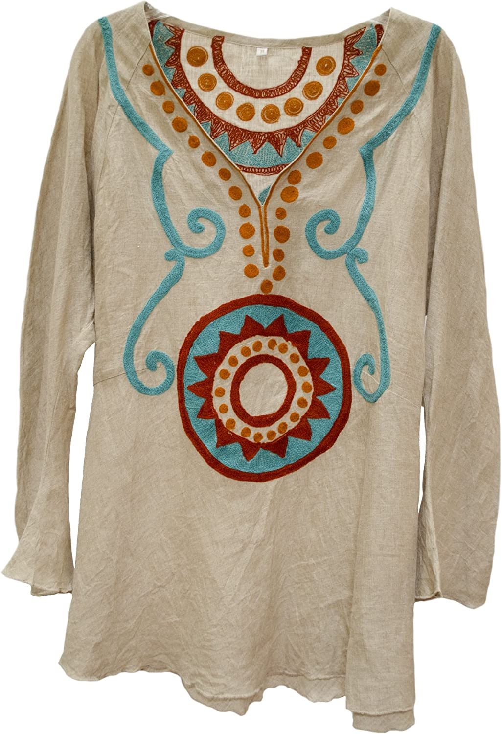 Nadia Suzani Embroidered Linen Tunic Top Shirt Natural Rust Turquoise M L