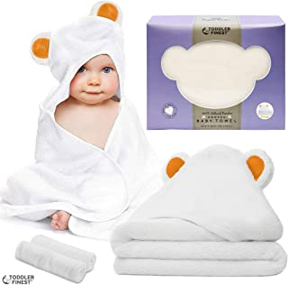 Premium Hooded Baby Bath Towel, 100% Organic Cotton Hypoallergenic Towels, Boys & Girls, Ultra Soft, Super Absorbent, Sized from Infant to Toddler, Baby Shower Gift Set (Orange)
