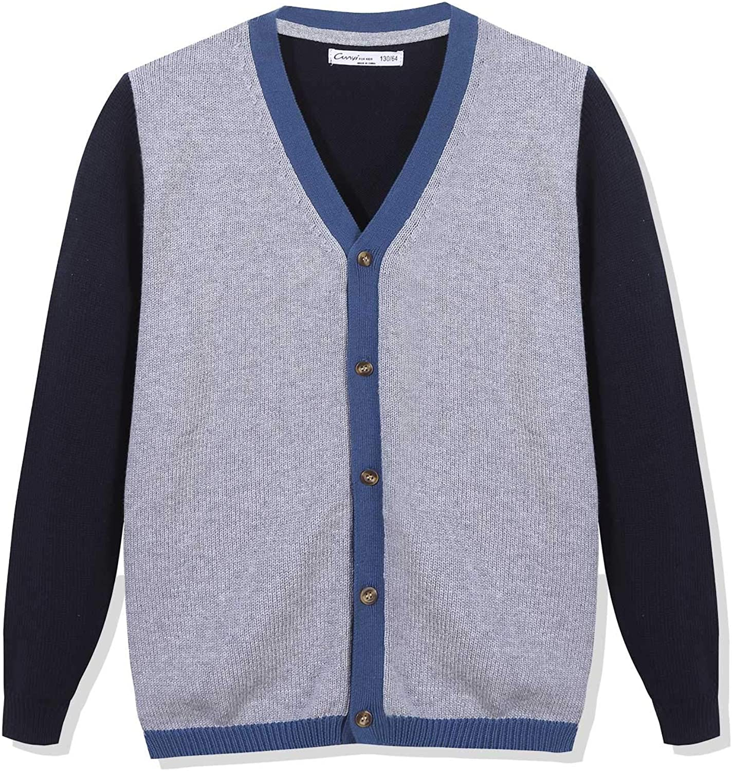CUNYI Boys' V-Neck Button Up Cotton Knit Cardigan Sweater Contrast Color Outerwear: Clothing, Shoes & Jewelry