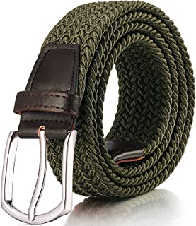 RANCHEZZ Men's Stretch Braided Belts, Woven Elastic Belt with Black/Silver Metal Buckle and Leather Tipped End