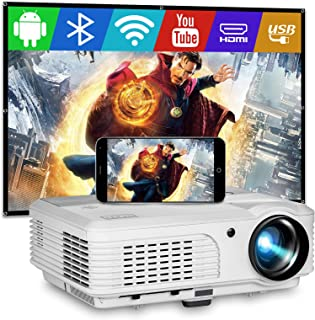 Smart WiFi Bluetooth Projector with 4400 Lumen Android 6.0 Wxga HDMI LCD Home Theater Wireless Projector for Screen Mirror...