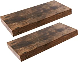 HOOBRO Floating Shelves, Rustic Brown Wall Shelf Set of 2, 15.7 inch Hanging Shelf with Invisible Brackets, for Bathroom, Bedroom, Toilet, Kitchen, Office, Living Room Decor BF40BJ01