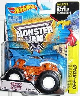 Hot Wheels Monster Jam Shark Wreak #21 Edge Glow Roll Cage Monster Truck With Snap-On Battle Slammer Off-Road