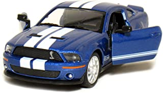 5 2007 Ford Shelby GT500 with Stripes 1:38 Scale (Blue) by Kinsmart