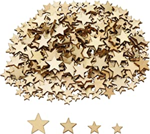 Shapenty 400PCS Unfinished Mini Wooden Stars Slices Cutouts Blank Wood Pieces Ornaments Chips for DIY Crafts Project Homemade Flag Making Christmas Embellishments Tags Wedding Party Decor (4 Sizes)